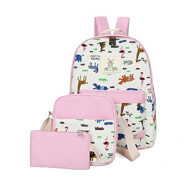 Animal Print School bag, backpack,Leisure backpack 3 pcs in 1 set- Pink