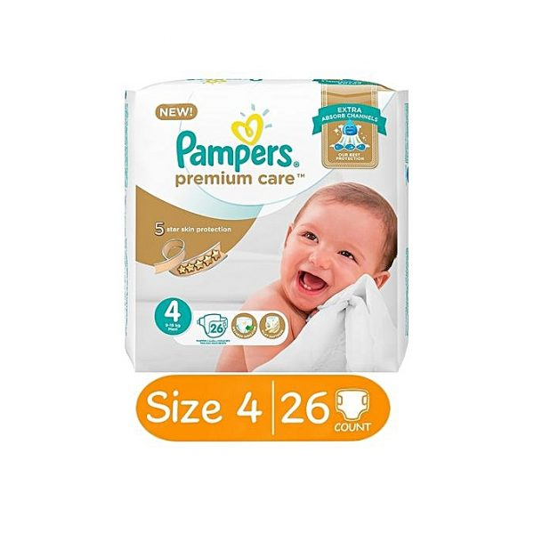 PAMPERS Pampers Premium Care Diapers With Extra Absorb Channels, Size 4, Value Pack, 26 Count