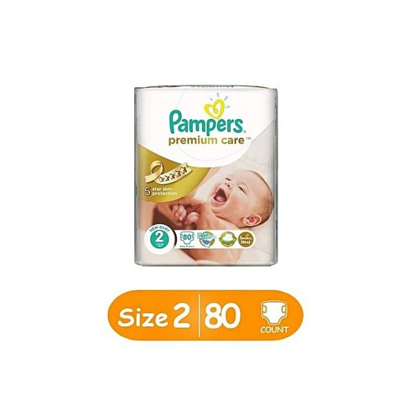 PAMPERS Premium Care Diapers, Size 2 (3-6kg), Jumbo Pack (Count 80)